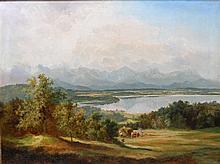 Monogrammist, 19./20. Jh.: Seelandschaft mit Bergpanorama, im Vordergrund Bauern bei der Heuernte,