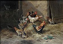 BAHIEU, JULES GEORGE (c.1860-c.1895):  Hühnerstall, 19. Jh.,