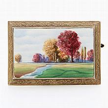 Antike Brosche, Darstellung einer Landschaft in feiner Emailmalerei in Schmuckrahmen;