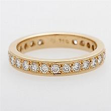 Memoire-Ring rundum besetzt mit Brillanten zus. ca. 0,95ct., Weiß/ SI.