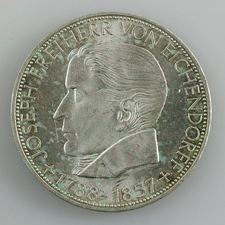 Federal Republic of Germany - 5 Deutsche Mark from Eichendorff, 1957,