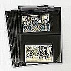 Japan - 10 bunte Ansichtskarten mit bildseitig verklebten Briefmarken (nicht postalisch gelaufen),