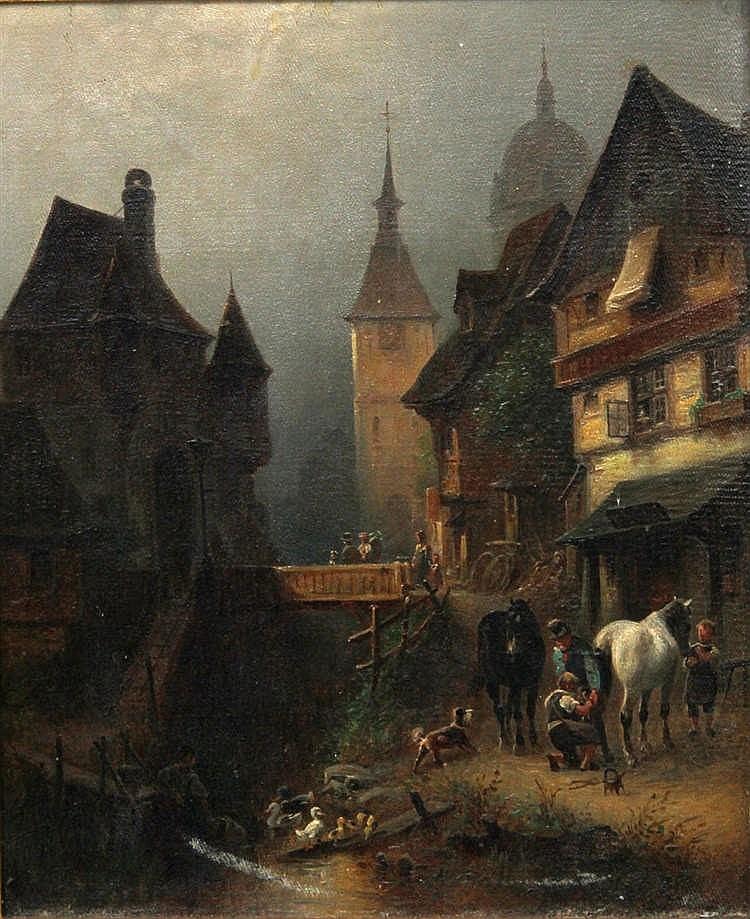 MEYERHEIM, PAUL WILHELM (act.1868-1895): Mittelalterliche Stadt (wohl Freiburg) mit Figurenstaffage,