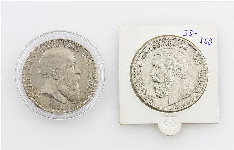 Baden/SILBER - 5 Mark 1901/G, 1903/G, Friedrich I., J. 29,33, ss.,