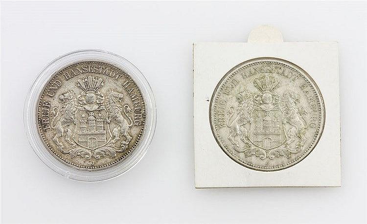 Hamburg/SILBER - 5 Mark 1898/J, 1899/J, J.65, ss.,