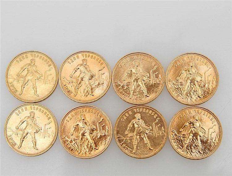 Kleinkonvolut Russland/GOLD - 8 x 10 Rubel 1978, Tscherwonez,