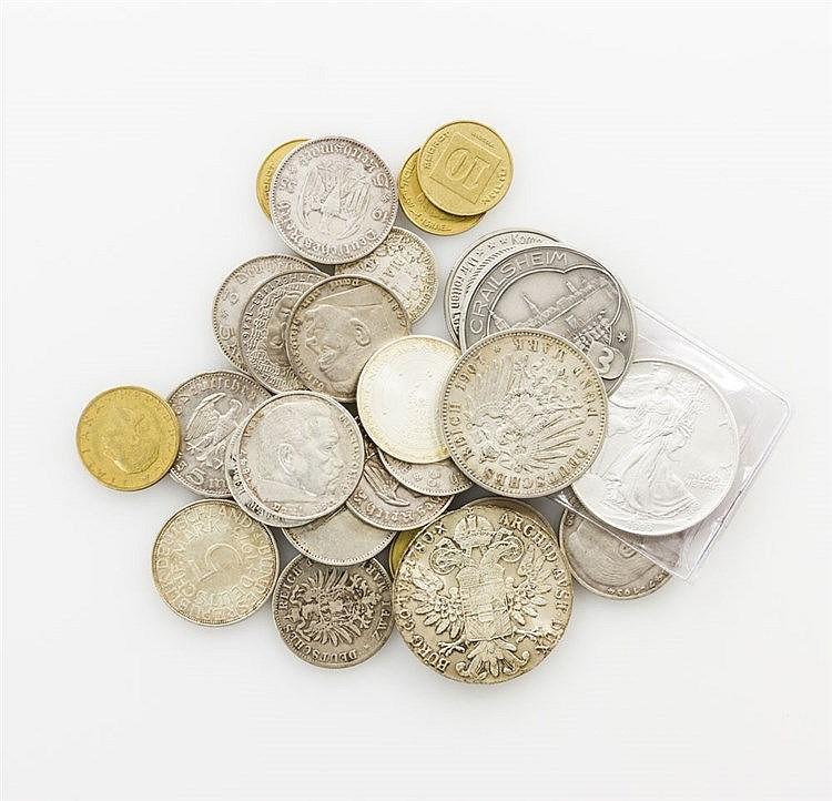 Konvolut Münzen und Medaillen, dabei SILBER - dabei u.a. 1 x USA - 1 Dollar 1993, Liberty, prägefrisch, 1 Unze Ag fein.
