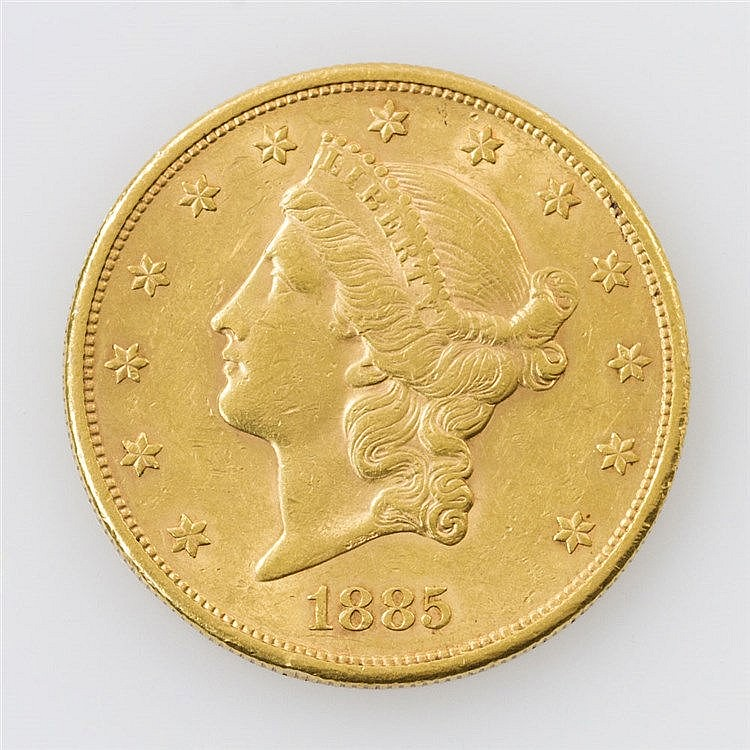USA/GOLD - 20 Dollars 1885/S, Av: Double Eagle, Rv: Liberty Head,