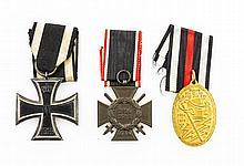 WK I - 3 Konvolut: Ehrenkreuz mit Schwertern, Kyffhäuser-Denkmünze,