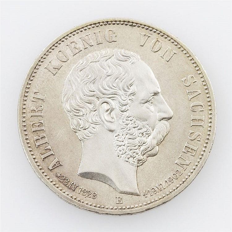 Sachsen - Albert, 1873-1902, 5 Mark 1902 E auf seinen Tod,