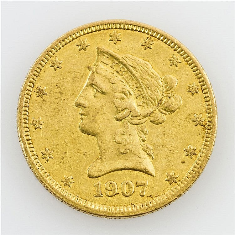 USA/ GOLD - 10 Dollars 1907, American Eagle,