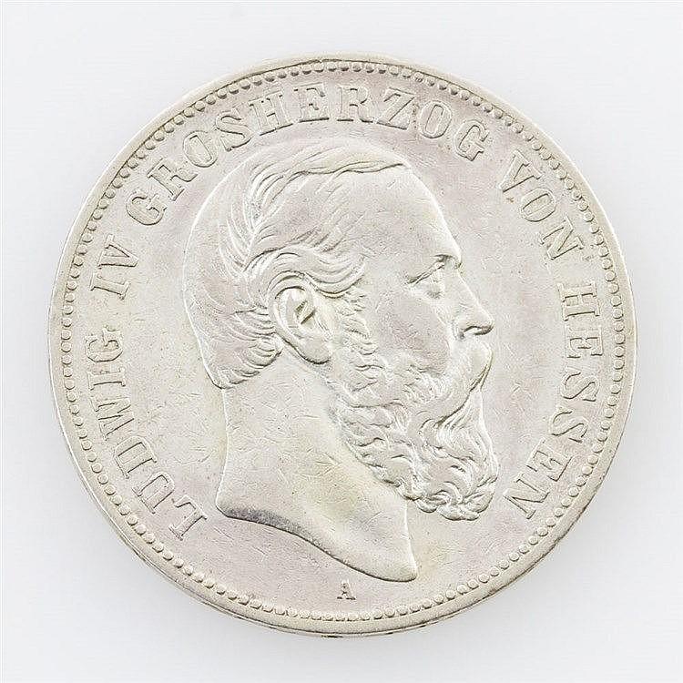 Hessen-Darmstadt - Ludwig IV., 1877-1892, 5 Mark 1891 A,
