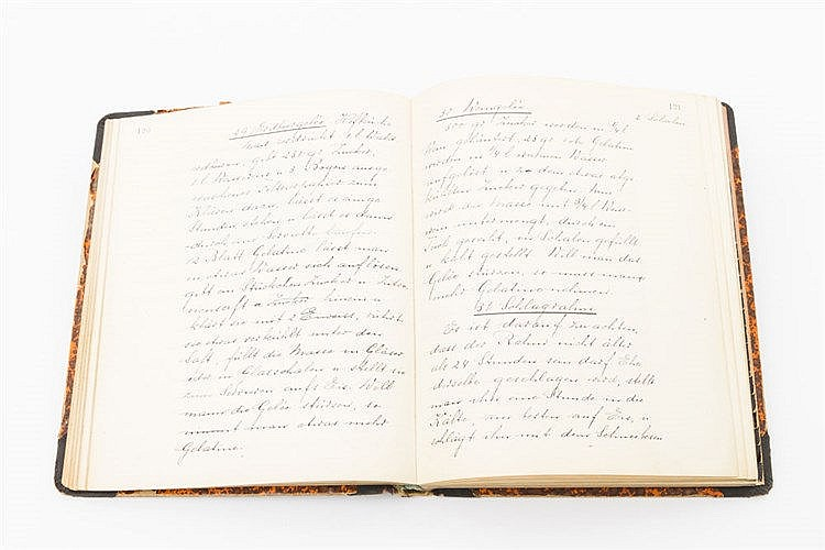 Kochbuch, Ende 19.Jh. /Anfang 20.Jh. - Kochbuch einer Teilnehmerin der Hauswirtschaftskurse an der Haushaltsschule der Großherzogin Luise in Baden-Baden.