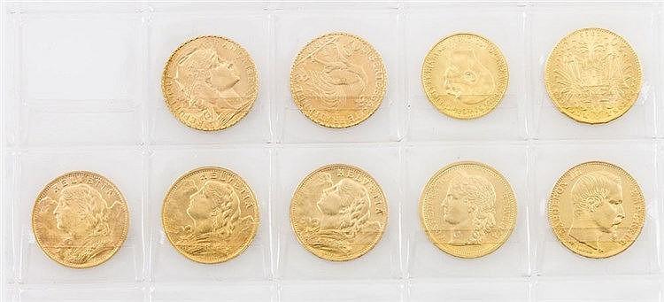 Schweiz/Österreich/Frankreich kleines GOLDkonvolut - bestehend aus 3 x 20 Francs, 4 x 20 Franken, 1 x 20 Kronen, 1 x 10 Kronen,