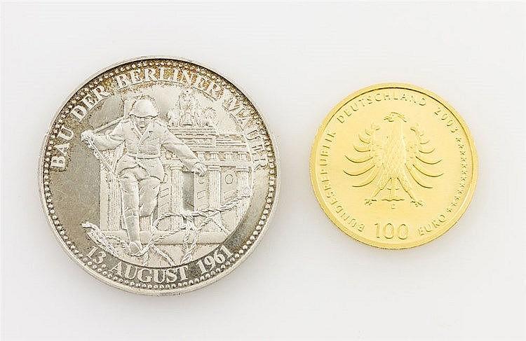 Kleinkonvolut GOLD und SILBER - 1 x BRD/GOLD - 100 Euro 2003/D, Weltkulturerbestadt Quedlinburg, spgl., 1/2 Unze GOLD fein, ohne Zertifikat.