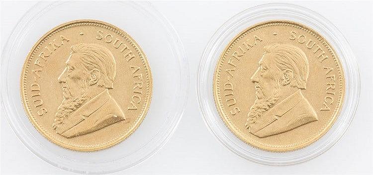 Südafrika/ GOLD - 2 x 1 Krügerrand 1972, je vz., einmal mit Randfehler,