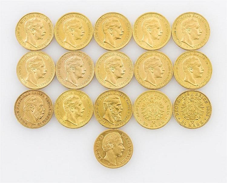 Dt. Kaiserreich/Bayern/Hamburg/Preussen schönes Konvolut in GOLD - Sammlung von 16 x 20 Mark,