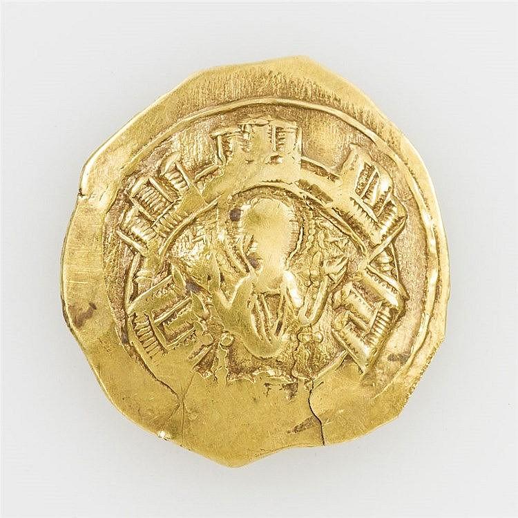 Byzanz / Andronikos II. (1282-1295) - Hyperpyron, Konstantinopel, Maria in Stadtmauer / Andronikos kniend vor Christus,