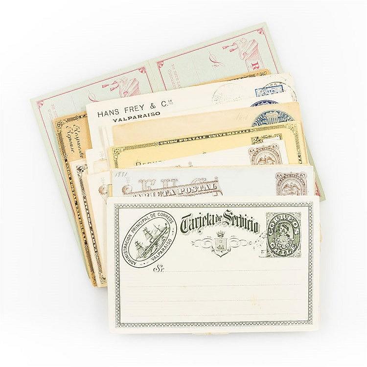 AMERIKA : Partie von 32 Ganzsachen, meist Chile Kolumbusausgaben, dabei Doppelkarten