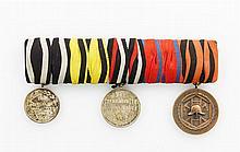 Württemberg - Ordensspange mit 3 Auszeichnungen, Königreich Silber-Medaille für Tapferkeit und Treue,