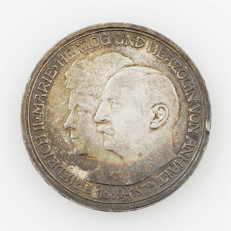 Deutsches Reich/SILBER - 3 Mark 1914/A, Silberhochzeit Friedrich II. und Marie von Anhalt,