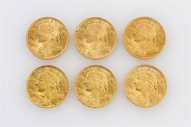 Schweiz/Gold - Konvolut von 6 x 20 Franken,