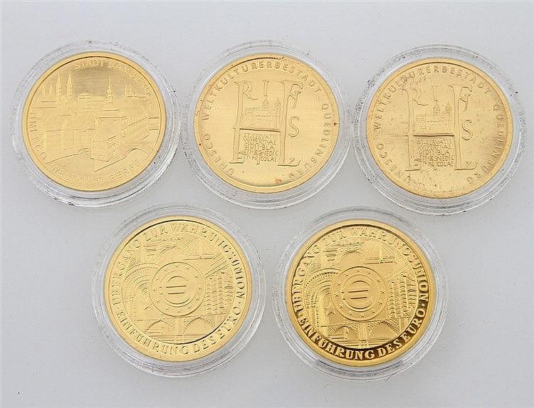 Konvolut BRD/GOLD - 5 x 100 Euro in GOLD, dabei z. B. 1 x BRD - 100 Euro 2004/A, Weltkulturerbestadt Bamberg, prägefrisch, 15,55g GOLD fein.