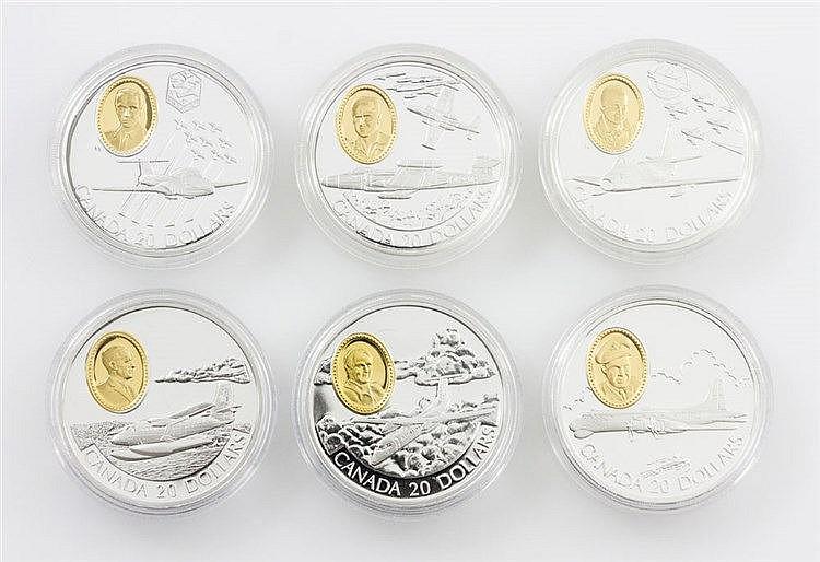 Kanada - 6 x 20 Dollars 1996, 1997 (2x), 1998 und 1999 (2x), Serie Pioniere der Luftfahrt,