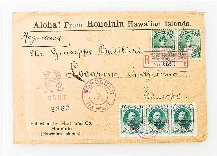 Briefmarken - 1894, Hawaii - Einschreibebrief mit 2 x 1 C und Dreierstreifen der 6 C - Scott 55 (2), 60 (3) - von Honolulu nach Locarno/Schweiz.