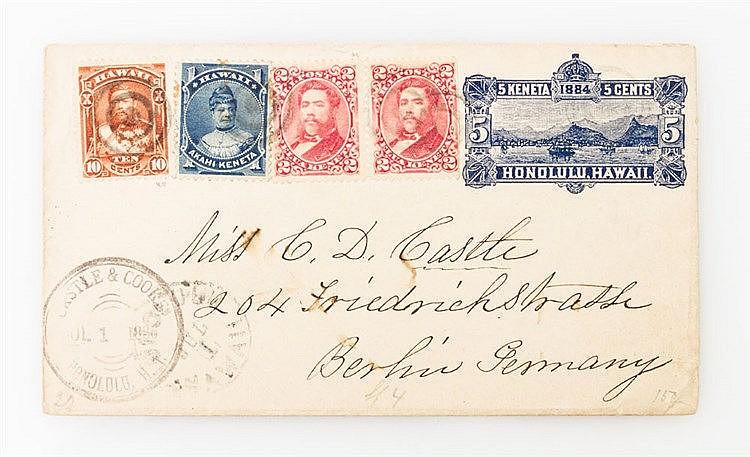 Briefmarken - 1886, Hawaii: Ganzsachenumschlag 5 C (Scott U4) mit Zusatzfrankatur 1 + 2 (2) + 10 C (Scott 37, 38 (2), 44) von Honolulu nach Berlin.