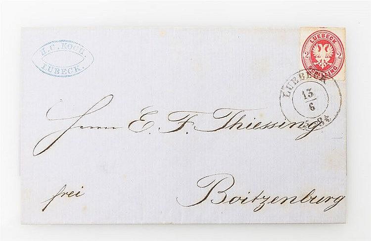 Lübeck - 1863, 2 Schilling Rosa auf Faltbrief nach Boitzenburg,