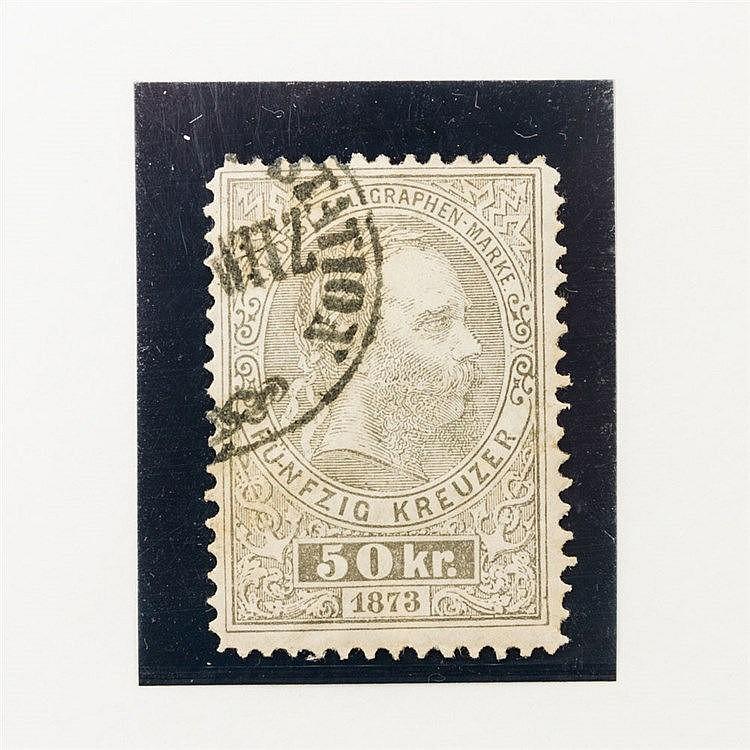 Österreich Telegraphenmarke - 1873, 50 Kreuzer grau,