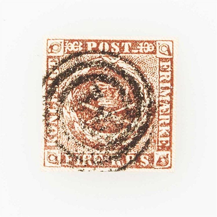 Dänemark - 1851, FIRE R.B.S., gestrichelter Untergrund,