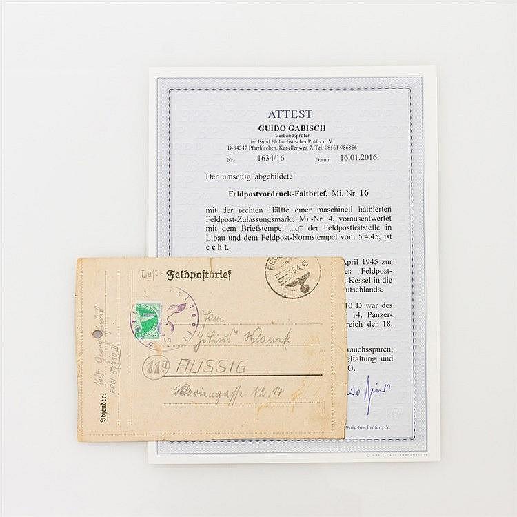 Feldpostbrief mit sog. Kurland Halbierung - Feldpostvordruck-Faltbrief Mi.-Nr.16 mit maschinell halbierter Feldpost-Zulassungsmarke Mi.-Nr.4.