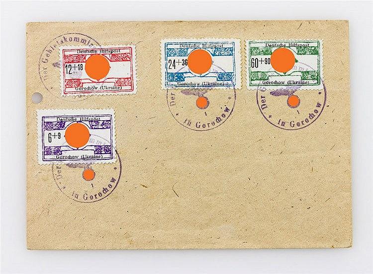 Deutsche Besetzung Zweiter Weltkrieg - Brief mit Gebietsangaben Nordukraine Michel Nr. 17/20 mit Stempel