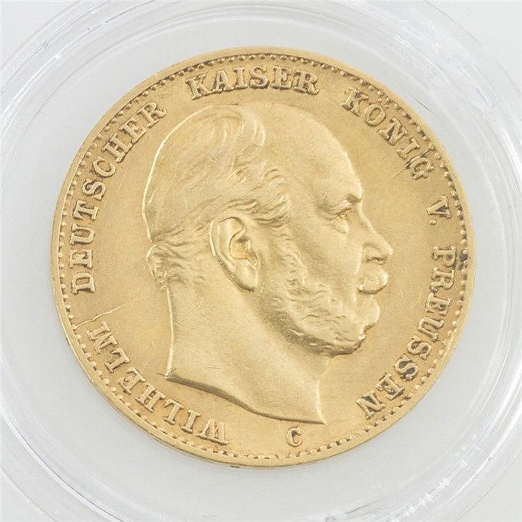Preussen/GOLD - 10 Mark 1872/C, Wilhelm I., ss., Lunker avers,
