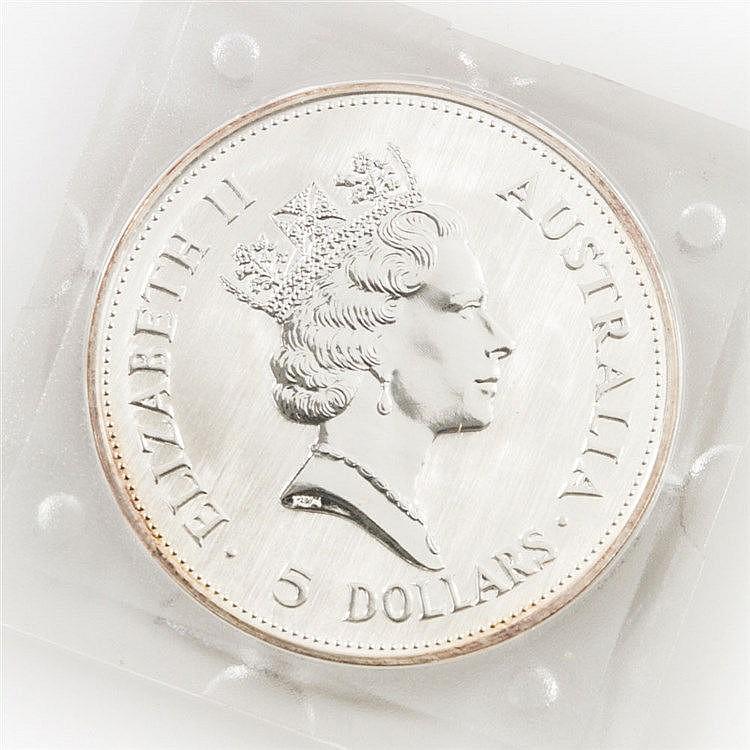 Australien/SILBER - 5 Dollars 1990, Australian Kookaburra,