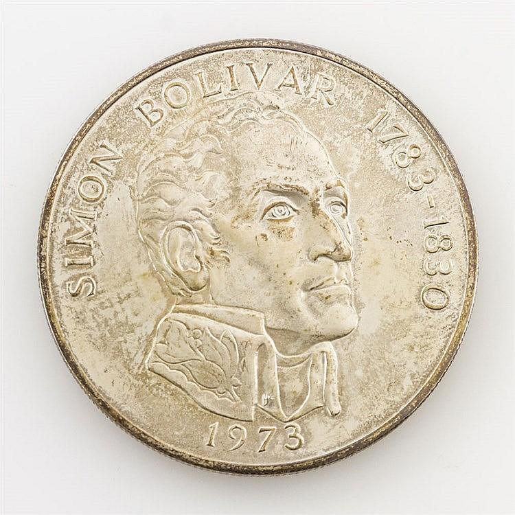 Panama/SILBER - 20 Balboas 1973, Simon Bolivar 1783-1830, vz., mit beidseitiger Panama,