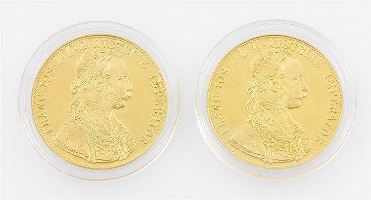 Österreich/ GOLD - 2 x 4 Dukaten 1915/NP, jeweils Franz Joseph I., je vz.,