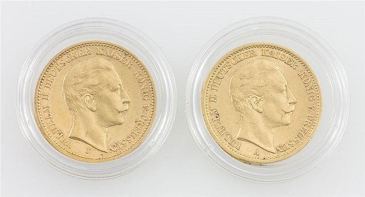 Dt. Kaiserreich Preussen/GOLD - 2 x 20 Mark, Wilhelm II., 1905/J + 1906/A,