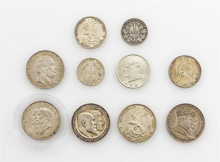 Dt. Kaiserreich - Konvolut von 10 Münzen,