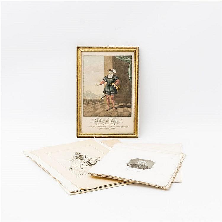 Buntes Konvolut Grafiken -  dabei zahlreiche Fürstenbildnisse u.a von Wilhelm Kronprinz von Württemberg oder von Pauline Herzogin von Württemberg.