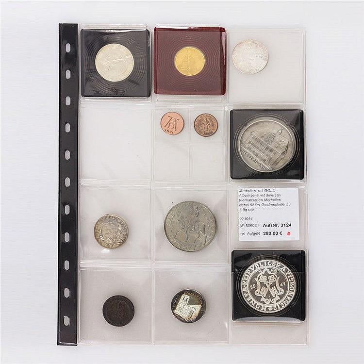 Medaillen, mit GOLD - Albumseite mit diversen thematischen Medaillen,