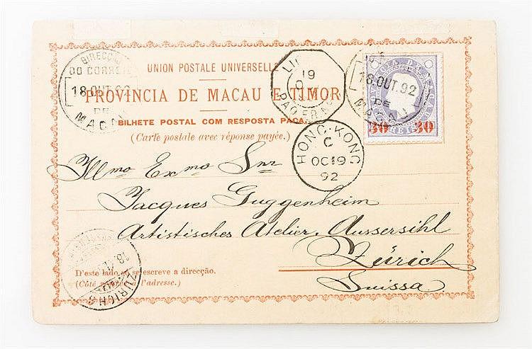 Briefmarken - 1892, Macao: vollständige, echt gelaufene prov. Ausland-Antwortkarte (Antwortteil nicht gebraucht) mit Text via Hong Kong nach Zürich