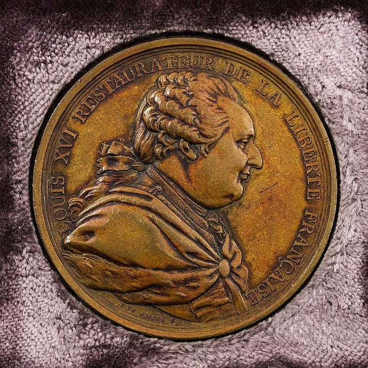 Frankreich - 1 BRONZEmedaille 1789, von du Vivier und Gatteaux, Ludwig XVI., auf den Verzicht der Feudalrechte und des Zehnten von Seiten des Adels und der Geistlichkeit,