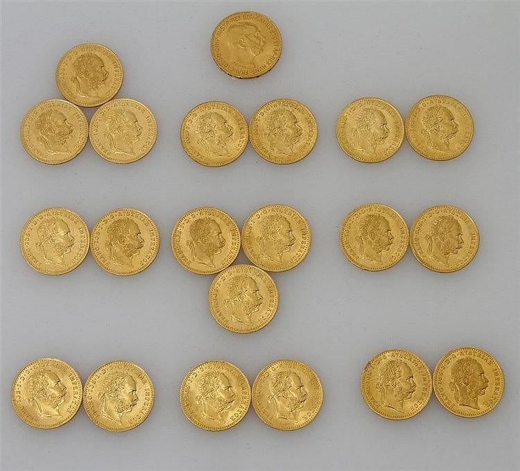 Österreich/GOLD - 20 x 1 Dukat NP 1915, dazu 1 x 20 Kronen NP 1915, insgesamt ca. 74,89 g fein.