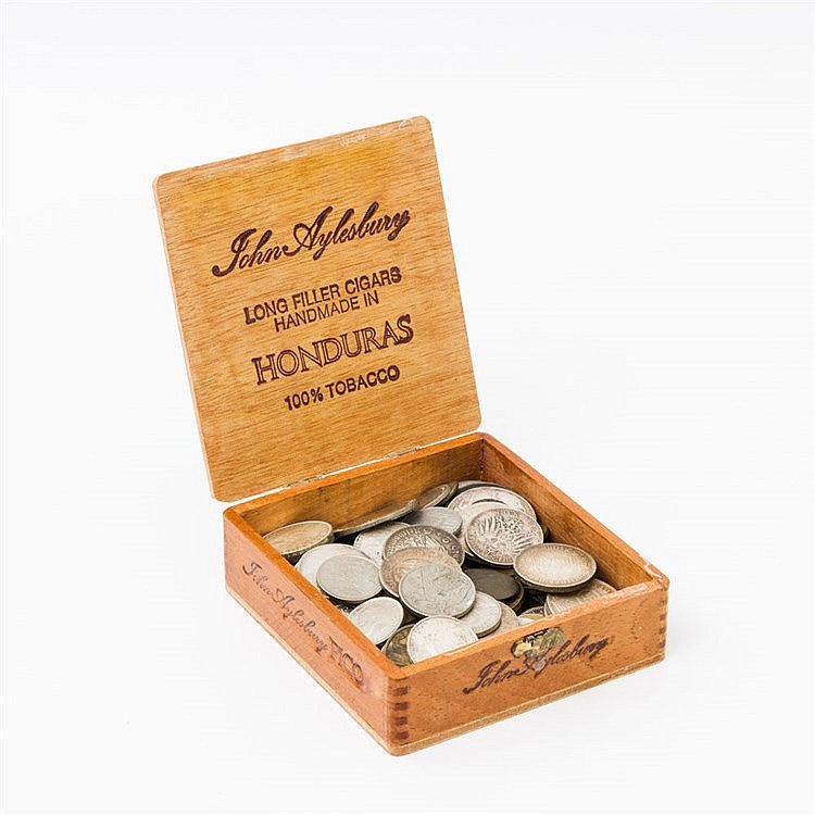 Preussen bis III. Reich, dazu Weltmünzen im Holzkästchen -