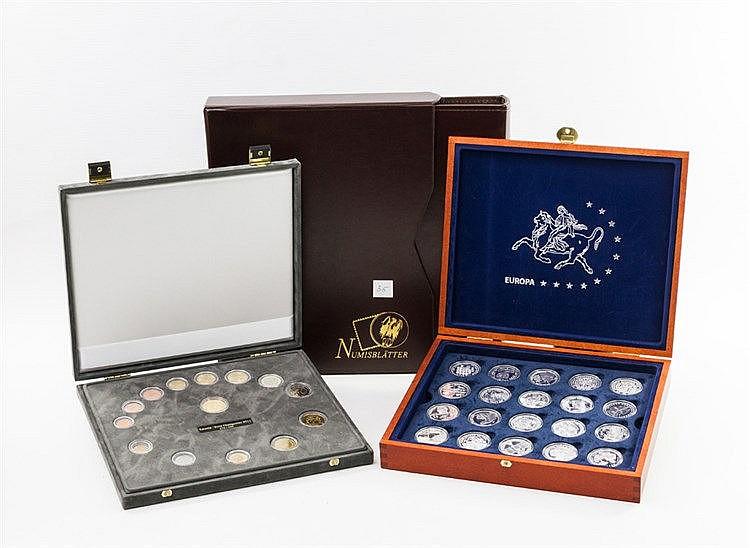 Konvolut Münzen und Medaillen mit GOLD und SILBER - mit 1 x Estland Changeover-Satz 2011 à 3,88€/ 6,80 EEK sowie 1 Gedenkmedaille/GOLD prägefrisch, 2,07g GOLD fein.