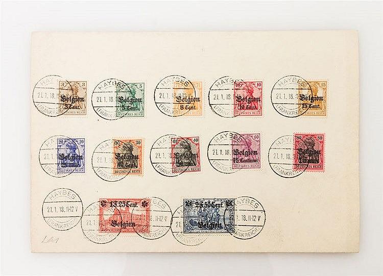 Deutsche Besetzung 1914/18 - schöner philatelistischer Satzbrief Landespost Belgien aus den Michel Nr. 1-26.