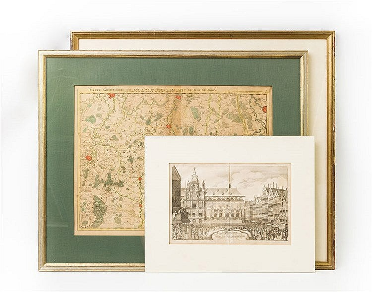 3 Kupferstiche Niederlande/Belgien - 1 x Kupferstich von W. Hollar